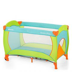 Hauck Sleep'n Play Center - Cuna de viaje (parque y cuna, 60 x 120 cm, 7,7 kg), multicolor verde orange, blau