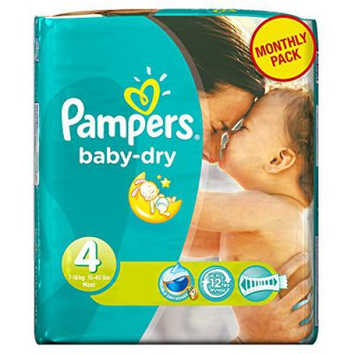 PAMPERS Pañales Baby-Dry Talla 4 maxi (7-18 kg) - Pack económico para 1 mes, 174 pañales